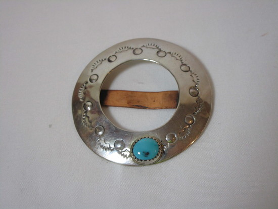 Ladies Etched Sterling Belt Buckle w/ Turquoise Stone - Marked HIJEL - Sterling