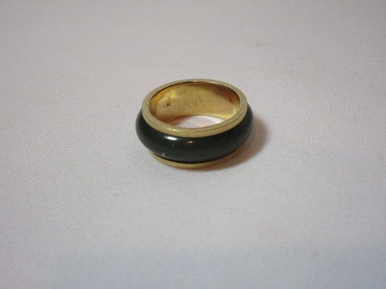 Ladies Jade & 14k Yellow Wedding Band - See Appraisal for Details