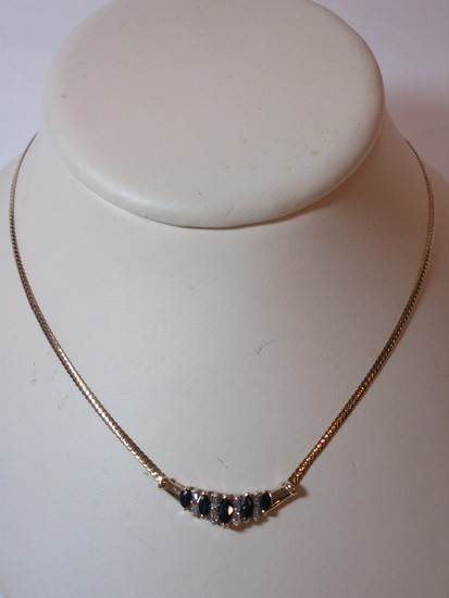 14k Yellow Gold Necklace w/ Marquise Shape Sapphires & 8 Tapered Diamond Baguettes