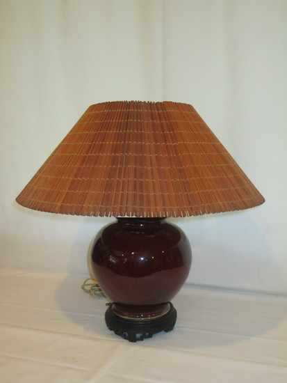 Red Bulbous Table Lamp with Wood Slatted Shade
