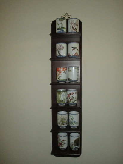 12 Japanese Cups with Hand Painted Birds on Mahogany Wall Shelf