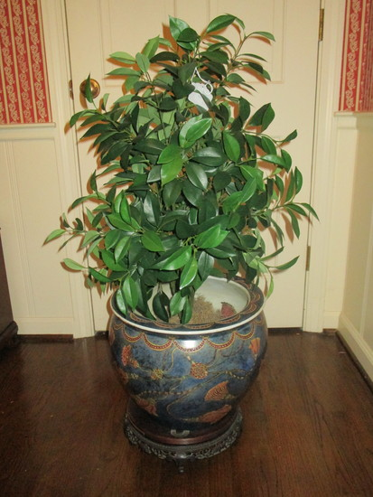 Beautiful Fish Bowl Planter on Teak Stand with Silk Plant