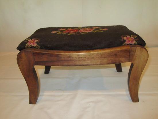 Small Footstool (Mahogany with Needlepoint Seat)