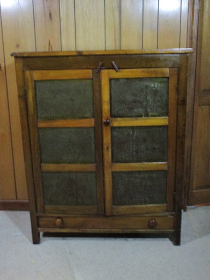 Primitive Punched Tin Pie Safe - Double Door with 1 long Bottom Drawer