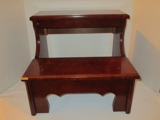 Mahogany Bed Steps - Bottom step has chip (See pictures)