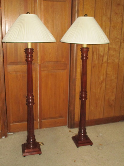 Pair Turned Column Mahogany Floor Lamps, with Cloth Shades & Brass Finials
