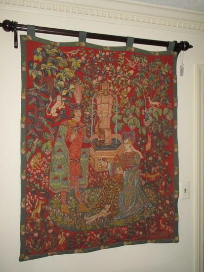 Lovely Le Roman de la Rose Woven Tapestry by Anne Roland Aknin   1985