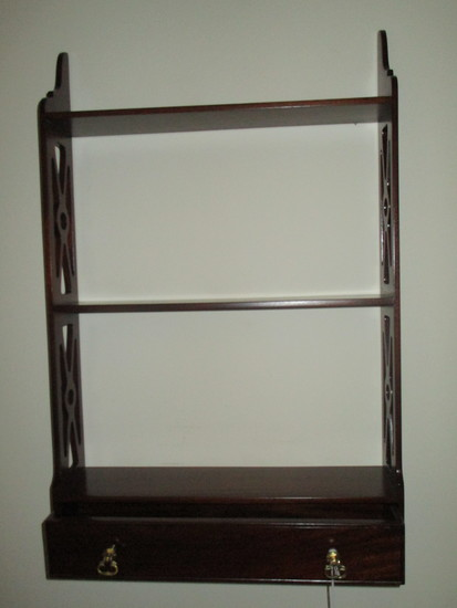 Mahogany Chippendale Style Wall Shelf - 3 Shelves with Bottom Drawer