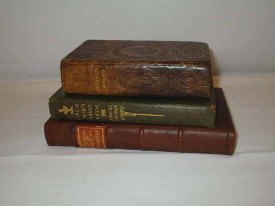 "3 Vintage Books  1833 ""Pilgrim Progress"" Published by Andrus & Judd, Leather Bound, ""Golden Treasury"