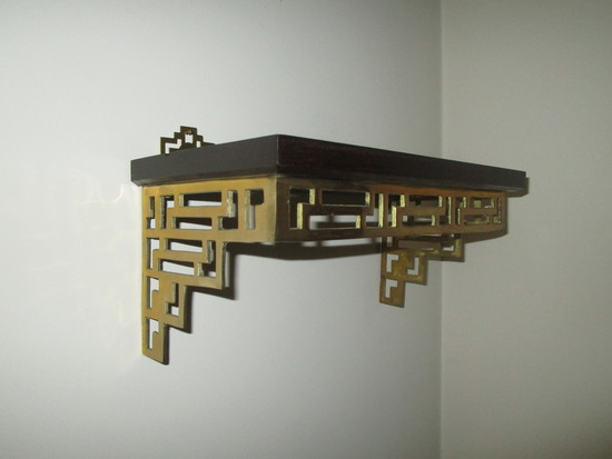 Pair Brass & Wood Chippendale Style Wall Shelves