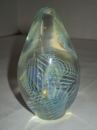 Eickholt Signed Art Glass Paperweight - Clear w/ Irridescent Swirl Pattern 2001 Marked ESCH