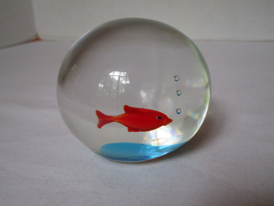 Art Glass Paperweight w/ Red Fish