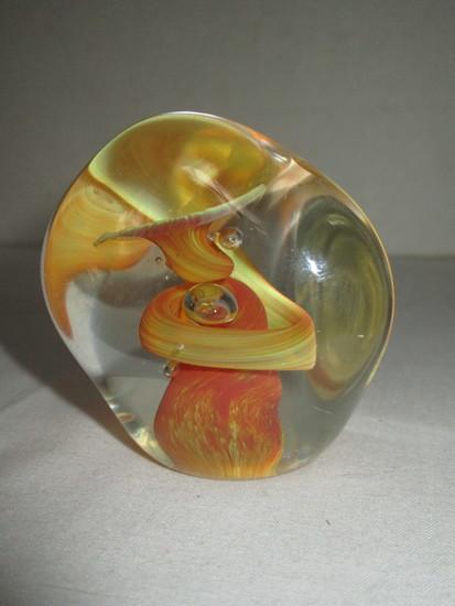 Beautiful Orange Art Glass Paperweight
