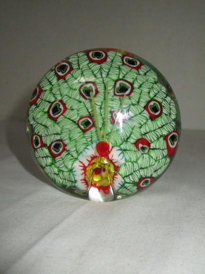 Beautiful Art Glass Paperweight - Millefiori in The Design of a Peacock