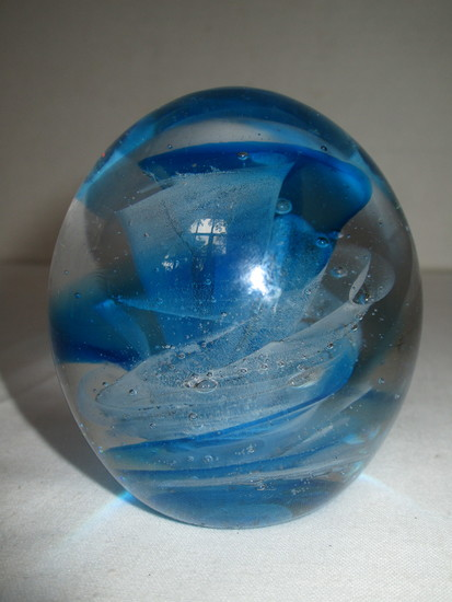 Artist Signed Art Glass Paperweight - Blue & White Floral Design - Dated '81