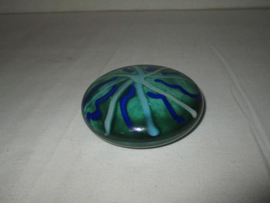 Artist Signed Art Glass Paperweight w/ Orange Floral Design - Cayman Islands Souvenir