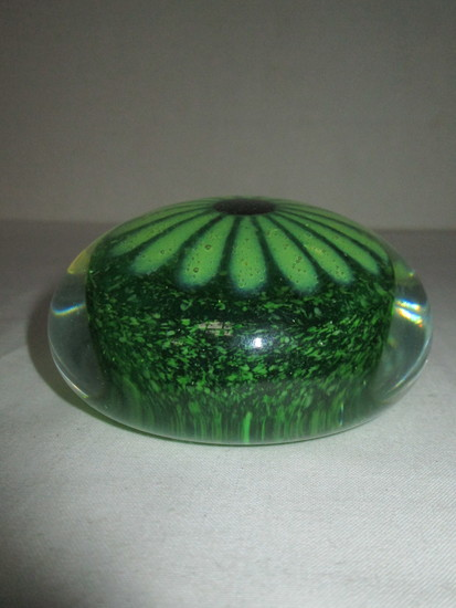 Art Glass Paperweight w/ Green Flower Center
