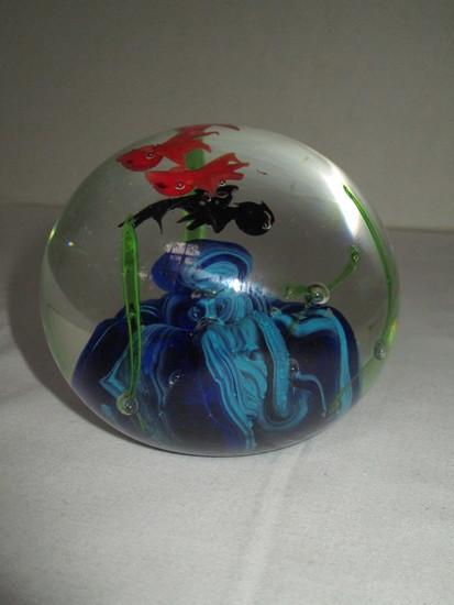 Beautiful Art Glass Paperweight w/ Marine Life Scene