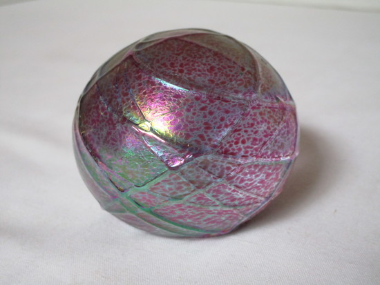 Vintage Irridescent Handmade Paperweight Signed OBG on Base