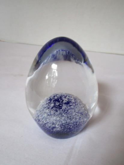 Handmade Bohemian Glass Paperweight - Clear w/ Cobalt Center - Original Label