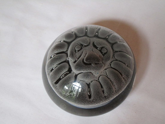 Buedo Signed Art Glass Paperweight -  Clear & Gray