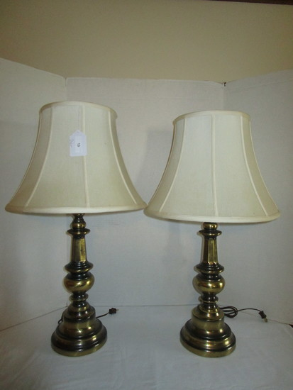 "Pair Brass Finish Lamps w/ Shades - 29"" Tall"