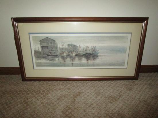 "Shrimp Boat Prints in Frame - 20"" X 39"" - minor wear on frame"