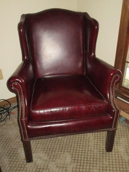 Distinction Pleather Burgundy Wing Back Chair w/ Brass Brads