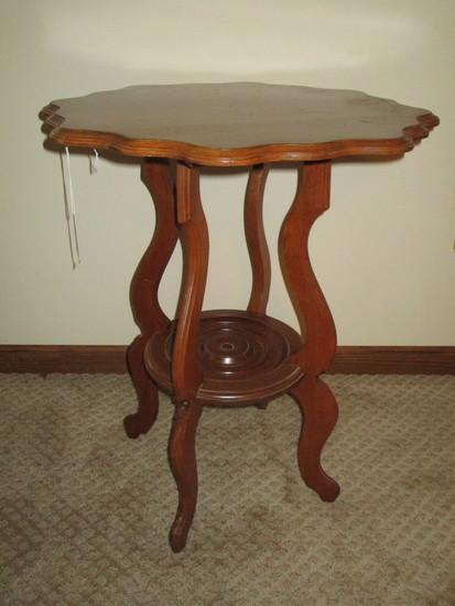 "Oak Accent Table w/ Scalloped Rim - 28"" X 22"" - few nicks"