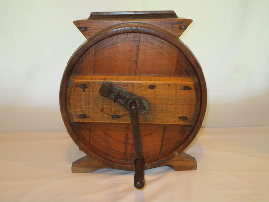 Primitive Wood Butter Churn - Iron & Wood Handle,  Wood Paddles - Lock - Great Condition!