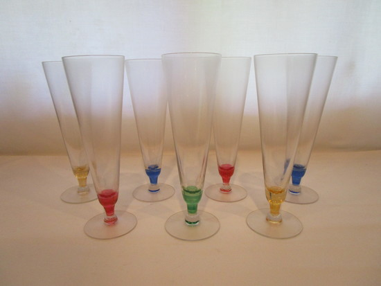 7 Clear Pilsner Glasses with Multicolored Stems