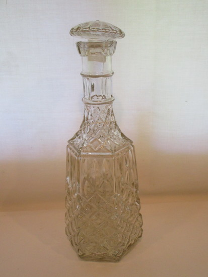 Pressed Glass Decanter with Stopper   12 1/2""