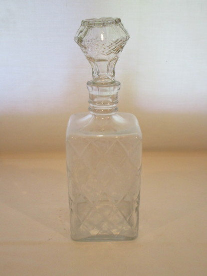 Pressed Glass Decanter with Stopper  11""