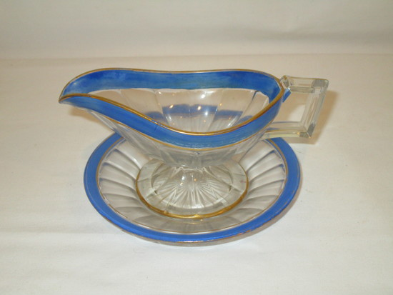 Glass Condiment Pitcher with Underplate - Trimmed in Blue  5 1/2""