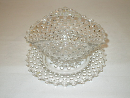 Clear Glass Hobnail Mayo Dish & Underplate    6""