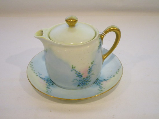 Silesia Hand Painted Creamer with Lid & Underplate   5 1/2""