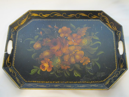 "Nice Early Tole Tray   22"" x 16"""