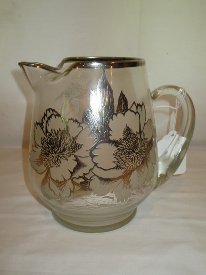 """Silver Overlay Pitcher   8"""""""