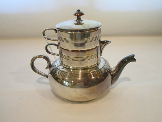 Quadruple Plate Tea Pot, Cream & Sugar  - Stacking Set   6 1/2""
