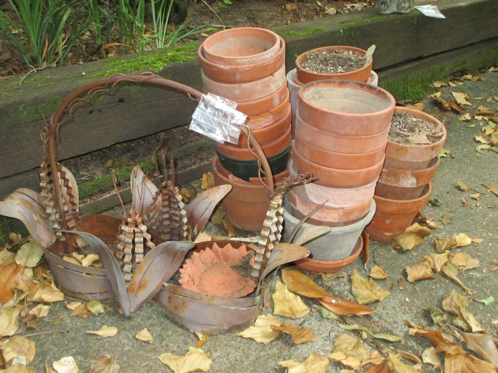 Lot - Misc. Planters - Metal, Plastic, & Terra Cotta
