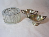 Lot - Benedict Silver Plate Cream & Sugar & Silex Glass Bowl Candle Warmer w/Chrome Lid &