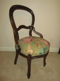 Early Walnut Balloon Back Side Chair w/Upholstered Seat