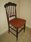 Sweet Victorian Style Ladies Side Chair w/Woven Wicker Seat & Spindle Back