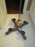 Wood Hanging Light Fixture (4 Arm) w/Copper Bobeches & Copper Insert w/Iron Horseshoe