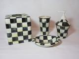 Mackenzie Childs Bath Set   Ceramic Tissue Box, Soap Dish & Soap Dispenser, Tin Cup
