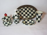 Mackenzie Childs Bath Set   Plastic Tray w/Woven Rattan Sides, Metal Cup & Soap Dish,