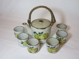 Stoneware Tea Set - Tea Pot w/Lid in Woven Straw Handle  & 6 Cups