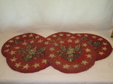 4 Hooked Round Chair Cushions w/ Eagle Motif
