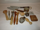 Kitchen Utensil Lot - Wood & Other    Tea Strainers - Nice Lot!