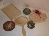 Box of Vintage Lace Pin Cushions, Fabric Covered Box, Coaster & Bakelite Mirror